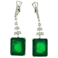 GIA Certified 15.94 Carat & 16.15 Carat Colombian Emerald Diamond Gold Earrings