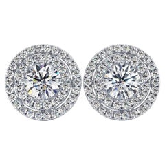 GIA Certified 1.63 Carat Round Diamond Solitaire Jacket Halo Stud Earrings 14k