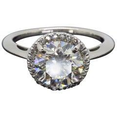 GIA Certified 1.60 Carat VVS1 Diamond Halo Engagement Ring