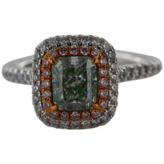 GIA Certified 1.60 Radiant Natural Light Green GIA VS2 Diamond Convertible Ring