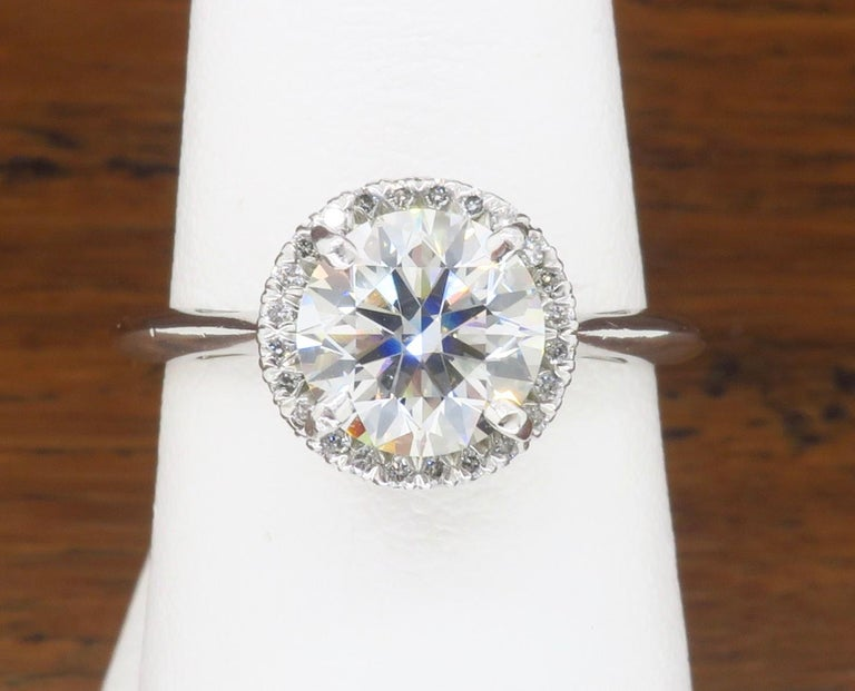 GIA Certified 1.52 Carat VVS1 Diamond Halo Engagement Ring For Sale 4