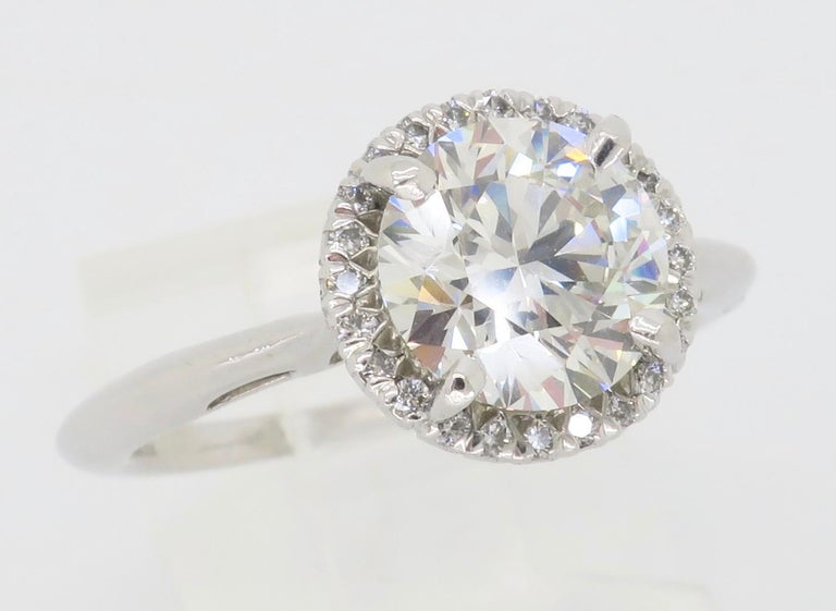 GIA Certified 1.52 Carat VVS1 Diamond Halo Engagement Ring For Sale 3