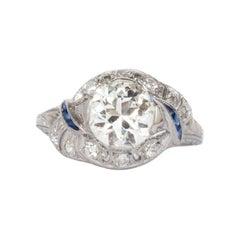 GIA Certified 1.61 Carat Diamond Platinum Engagement Ring