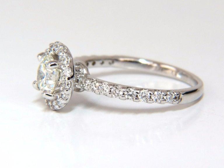 GIA Certified 1.61 Carat Round Cut Diamond Halo Ring 14 Karat For Sale 1