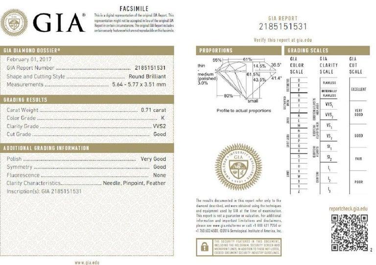 GIA Certified 1.61 Carat Round Cut Diamond Halo Ring 14 Karat For Sale 2