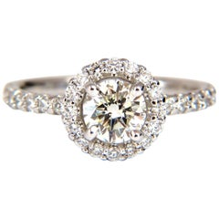 GIA Certified 1.61 Carat Round Cut Diamond Halo Ring 14 Karat
