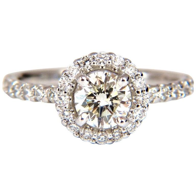 GIA Certified 1.61 Carat Round Cut Diamond Halo Ring 14 Karat For Sale