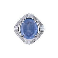 GIA Certified 16.14 Carat Natural Ceylon Blue Sapphire Platinum Ring