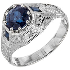 GIA Certified 1.62 Carat Blue Sapphire White Gold Men's Ring