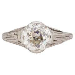GIA Certified 1.62 Carat Edwardian Diamond Platinum Engagement Ring