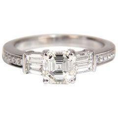 GIA Certified 1.62 Carat Natural Asscher Diamond Ring Classic 18 Karat