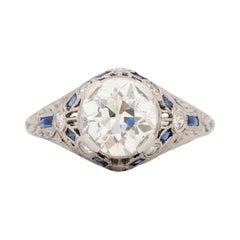 GIA Certified 1.63 Carat Art Deco Diamond Platinum Engagement Ring