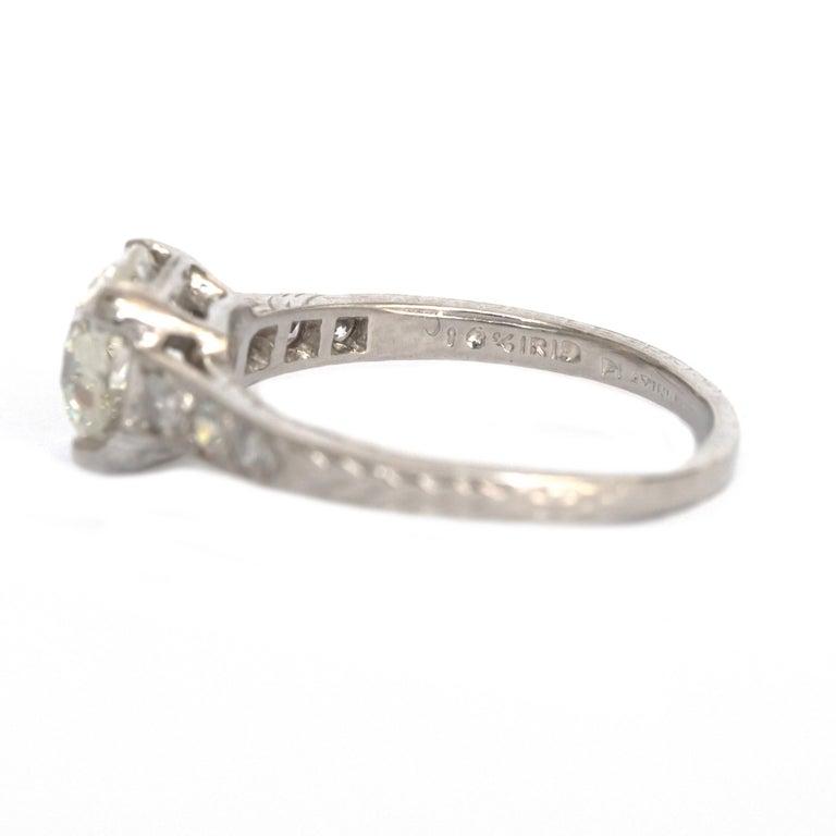 Women's GIA Certified 1.63 Carat Diamond Platinum Engagement Ring For Sale