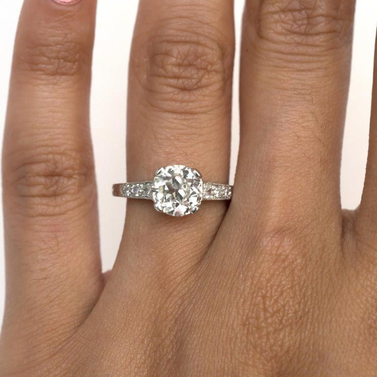 GIA Certified 1.63 Carat Diamond Platinum Engagement Ring For Sale 2