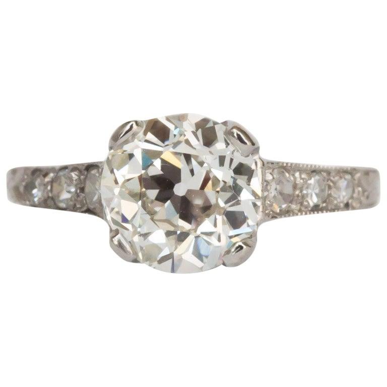 GIA Certified 1.63 Carat Diamond Platinum Engagement Ring For Sale