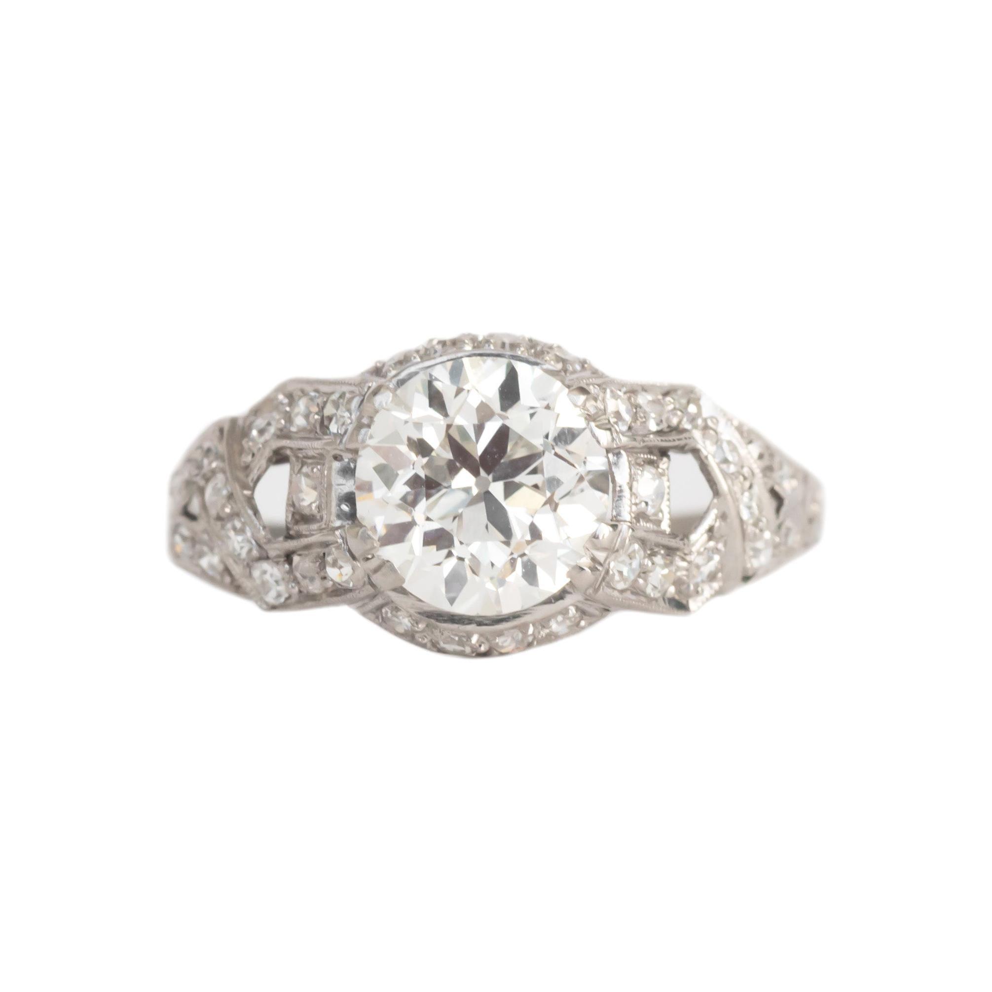 GIA Certified 1.63 Carat Diamond Platinum Engagement Ring