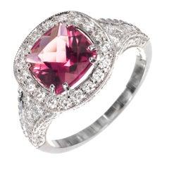 GIA Certified 1.63 Carat Tourmaline Diamond Halo White Gold Engagement Ring