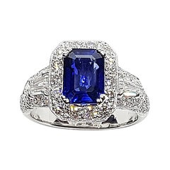 GIA Certified 1.63 Cts Blue Sapphire with Diamond Ring Set in Platinum 950