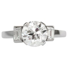 GIA Certified 1.64 Carat Diamond Platinum Engagement Ring