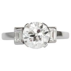 GIA Certified 1.64 Carat Diamond Platinum Engagement Ring
