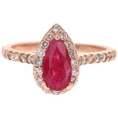 GIA Certified 1.64 Carat Ruby Diamond 14 Karat Rose Gold Bridal Ring