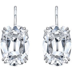 GIA Certified 16.42 Carat Total Weight F/VS1 Cushion Cut Diamond Drop Earrings