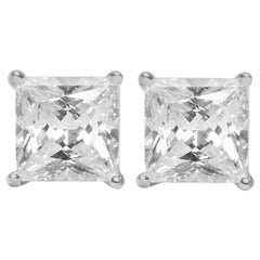GIA Certified 1.80 Carat H VS1/SI1 Princess Cut Diamond Stud Earrings