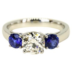 GIA Certified 1.65 Carats Old European Cut Diamond and Sapphires Ring