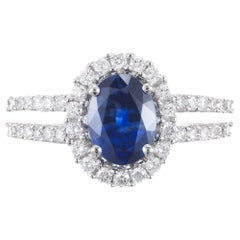 GIA Certified 1.65 Cornflower Blue Sapphire Diamond Gold Halo Engagement Ring