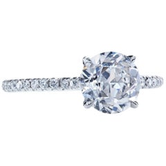 GIA Certified 1.66 Carat H/SI2 Old European Diamond Platinum Solitaire