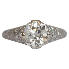 GIA Certified 1.67 Carat Diamond Platinum Engagement Ring