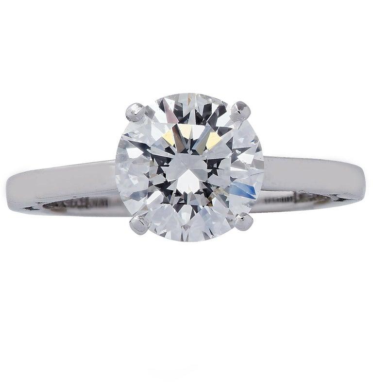 Round Cut GIA Certified 1.68 Carat Diamond and Platinum Tacori Ring For Sale