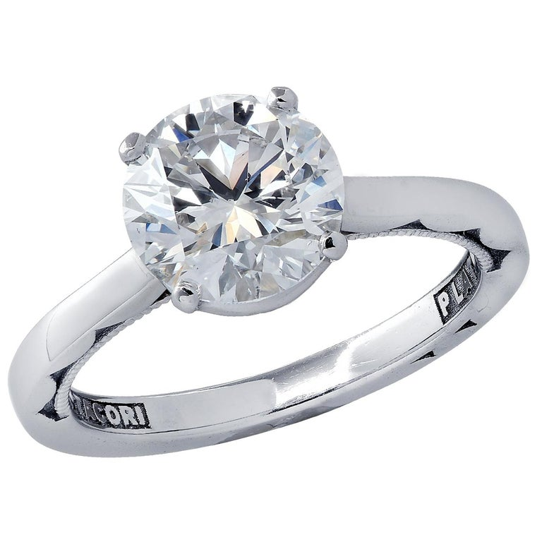 GIA Certified 1.68 Carat Diamond and Platinum Tacori Ring For Sale