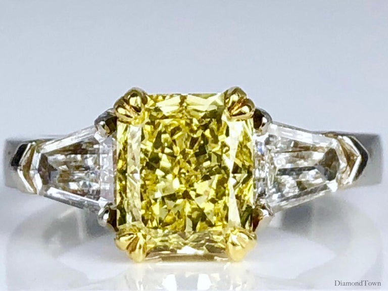 Radiant Cut GIA Certified 1.68 Carat Natural Fancy Intense Yellow Diamond Ring in Platinum For Sale