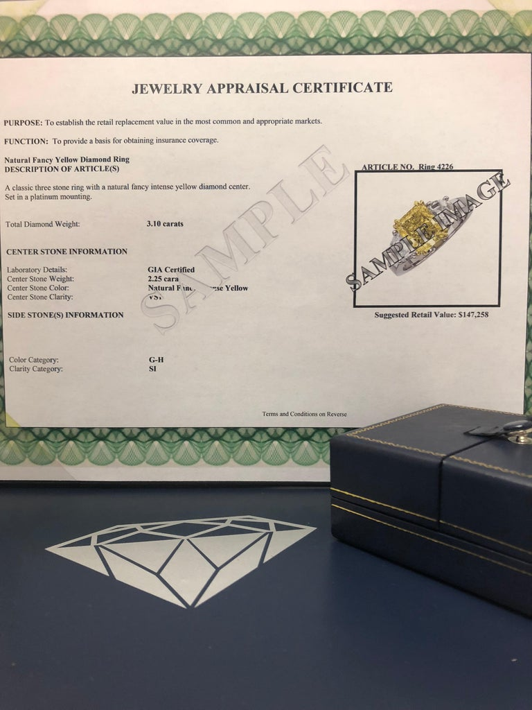 GIA Certified 1.68 Carat Natural Fancy Intense Yellow Diamond Ring in Platinum For Sale 2