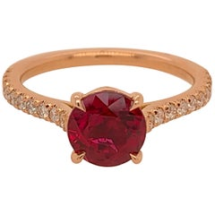 GIA Certified 1.68 Carat Natural Round Brilliant Ruby Rose Gold Engagement Ring