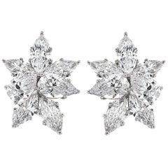 GIA Certified 16.85 Carat Diamond Platinum Cluster Ear Clips