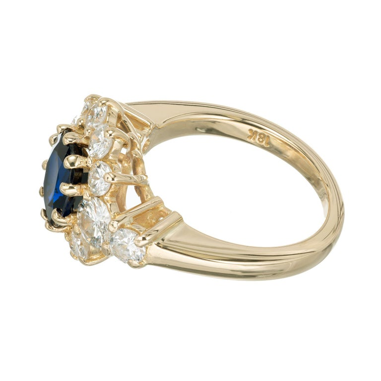 GIA Certified 1.69 Carat Blue Sapphire Diamond Yellow Gold Engagement Ring In Excellent Condition For Sale In Stamford, CT