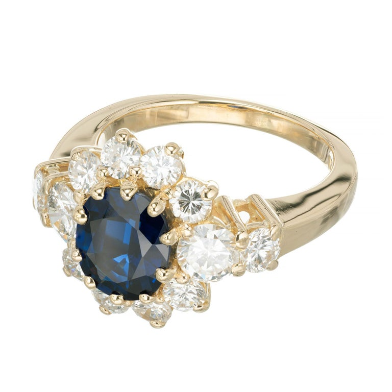 GIA Certified 1.69 Carat Blue Sapphire Diamond Yellow Gold Engagement Ring For Sale 3