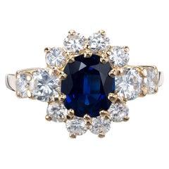 GIA Certified 1.69 Carat Blue Sapphire Diamond Yellow Gold Engagement Ring