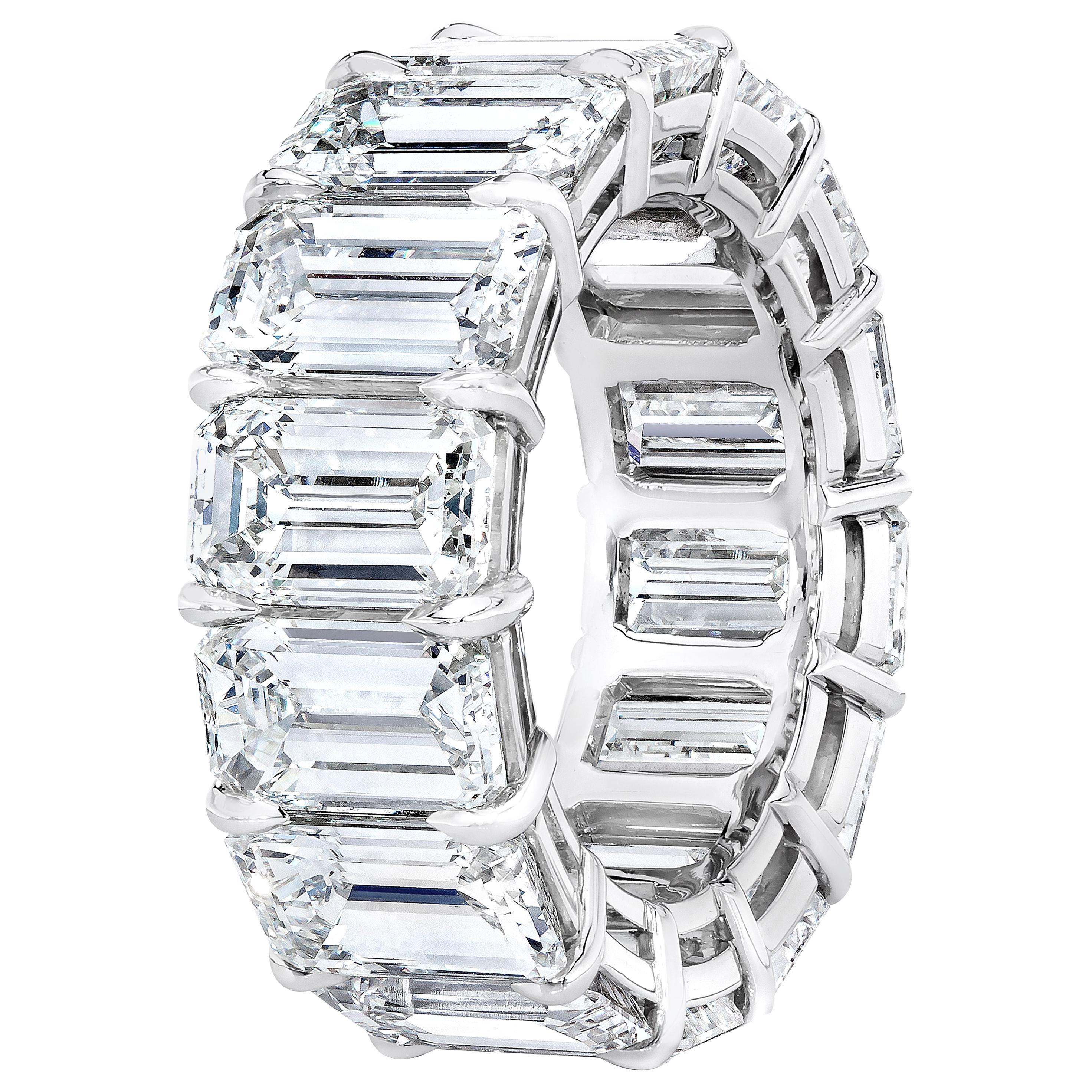 GIA Certified 16.98 Carat Emerald Cut Diamond Eternity Band Ring