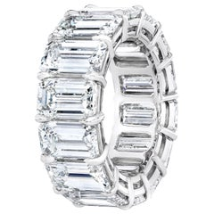 GIA Certified 16.98 Carat Emerald Cut Diamond Eternity Band Ring