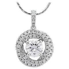 GIA Certified 1.62 ct D VS1, Round Brilliant Diamond, Love Trinity Pendant