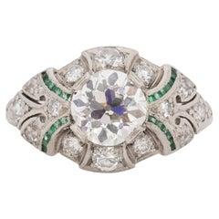 GIA Certified 1.70 Carat Art Deco Diamond Platinum Engagement Ring