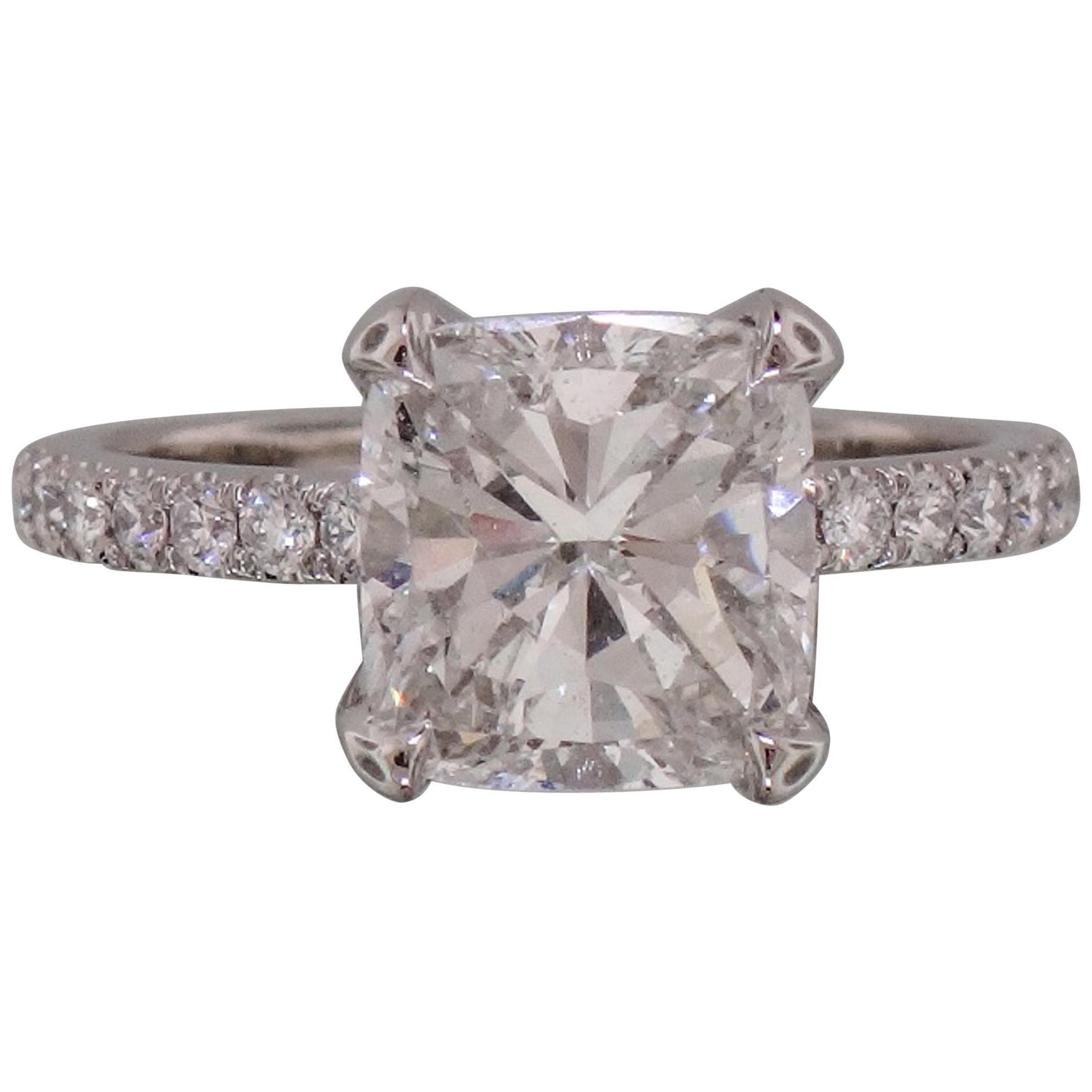 GIA Certified 2 Carat Cushion Modified Brilliant Cut Diamond Ring