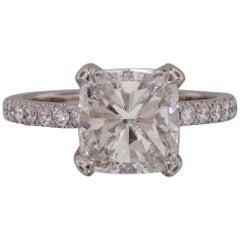 GIA Certified 2.20 Carat Cushion Modified Brilliant Cut Diamond Ring
