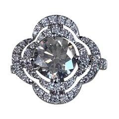 GIA Certified 1.70 Carat Fancy Light Gray Round Diamond Ring 18 Karat White Gold