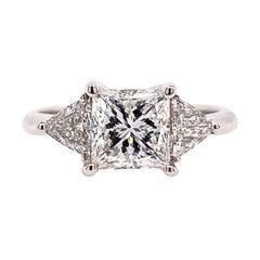 GIA Certified 1.70 Carat Natural Princess Diamond F VS1 Non Gold Engagement Ring