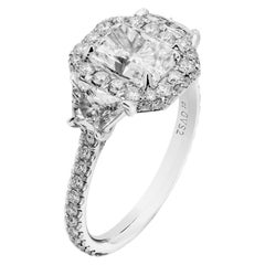 GIA Certified 1.70 Carat Radiant Diamond Three-Stone Ring