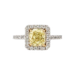 GIA Certified 1.71 Carat Yellow Diamond Engagement Ring